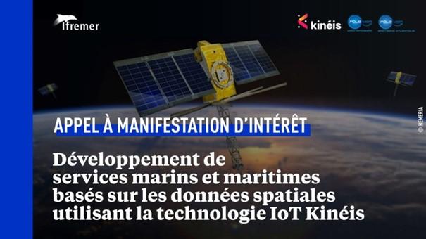 AMi Ifremer Kinéis sur des services marins et maritimes utilisant l'IoT par des données satellites